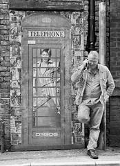 Retro (Chris Willis 10) Tags: film bw black white mono monochrome retro david bowie art manchester telephone graffiti northern quarter phone mobile