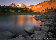 St Andrews Sunset (David Swindler (ActionPhotoTours.com)) Tags: mountrainier wonderland washington standrews rainier lake wonderlandtrail longexposure standrewslake mtrainier