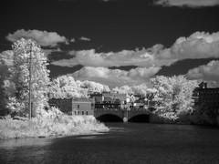 P9240001 - Downtown Nashua (Syed HJ) Tags: nashuanh nashua nh nashuariver river bridge blackwhite blackandwhite bw infrared 950nm ir olympusem5 olympus em5 fujian50mmf14 fujian50mm fujian 50mm cctvlens cctv