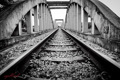 9th Bridge (sydbad) Tags: travel blackandwhite bw black art architecture train canon square fun eos is asia ii squareformat l 5d usm ef f4 mk 24105mm