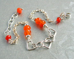 Friendship (Beguiled By The Bead) Tags: orange jewelry jewellery bracelet earrings gemstones carnelian sterlingsilver goldfilled freshwaterpearls lampworkglassbeads