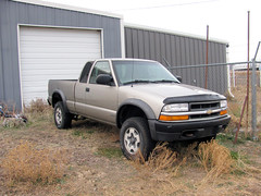 With the Tires off my Ranger (Eyellgeteven) Tags: old chevrolet gm 4x4 farm pickup pickuptruck chevy s10 madeinusa americanmade fourwheeldrive chev generalmotors zr2 outtopasture blownengine onblocks blownmotor eyellgeteven
