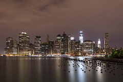 Downtown Manhattan (PhiiiiiiiL) Tags: street new york nyc usa reflection wall skyline night skyscraper river pier nikon long exposure downtown nightshot cloudy nacht manhattan united east states reflektion nachtaufnahme wolkenkratzer langzeitbelichtung mygearandme mygearandmepremium d800e