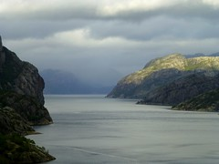 View into the Lysefjorden, Norway (Frans.Sellies) Tags: norway norge day cloudy norwegen rainy noruega showers norvegia noorwegen noreg norvge  norwegia  p1030669     blinkagain