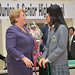 UN Women Executive Director Michelle Bachelet receives flowers from students following an interactive discussion with students from Shibuya Junior and Senior High School on 12 November 2012