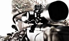 decisive moment (Jeremy Thurston) Tags: woman white eye digital intense nikon scope rifle camo gloves hunter aim hunt decisive sb800