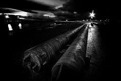 Double barrelled (Nick Lambert!) Tags: longexposure blackandwhite bw lights scotland harbour tubes ayrshire ardrossan nikond90 ayrshirecoast