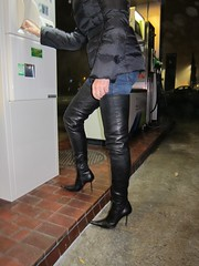 Rosina at the petrol station (Rosina's Heels) Tags: leather high boots thigh heel stiletto overknee