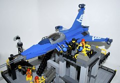 SF-78 Cougar Crew Arrival 2 (Gary^The^Procrastinator) Tags: flying fighter lego space aircraft aviation military flight strike spaceship cougar spacecraft reconnaissance legoship wamalug sf78 legodiorama