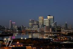 London view 2012,  Docklands before sunrise (Vladimir Zakharov  ) Tags: uk london sunrise star skyscrapers dusk 85mm financialdistrict docklands canarywharf riverthames londonskyline capitalcities londonview nikkor85mmf18 nikond800e