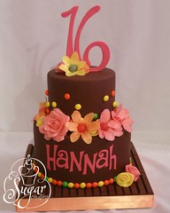 Hannah's sweet 16 (RebeccaSutterby) Tags: birthday pink orange yellow cake chocolate 16th kitkat skittles starburst sweet16 sweetsixteen 2tier candycake girlsbirthdaycake