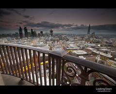 Looking Down (esslingerphoto.com (back in London)) Tags: road above city uk greatbritain light sunset england sky london tower church water thames architecture clouds canon river europe exposure catholic cityscape view britain capital great christopher stpauls churches architectural christian cathederal architect single highrise gb historical christianity christopherwren railing canarywharf shard londonbridges cityoflondon londonlandmarks esslinger esslingerphotocom esslingerphoto