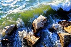 The surf off McKinley Beach (johndecember) Tags: park morning november usa fall beach wisconsin rocks surf gallery waves album sunny lakemichigan milwaukee hdr lakefront 2012 mckinleypark mke photomatixpro photoscape mckinleybeach