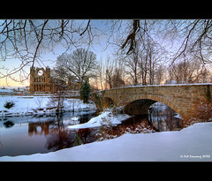 Elgin Cathedral in Winter (Kit Downey) Tags: morning bridge winter snow sunrise canon reflections river lens landscape eos rebel scotland early kiss wolf angle north wide ruin scottish historic east tokina highland kit elgin catherdral f28 moray x4 lense downey morayshire grampian lossie badenoch 550d t2i 1116mm