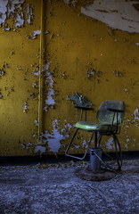 Arches Psychiatric Hospital (katherinecaprio) Tags: yellow chair decay urbanexploration asylum derelict urbex barberchair