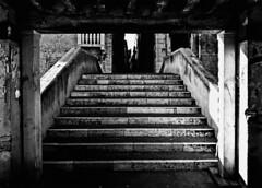 Ponte de l'Aseo (albireo 2006) Tags: bridge venice blackandwhite bw italy history stairs blackwhite italia urbandecay steps perspective bn venise venezia venedig italie veneto blackandwhitephotos blackwhitephotos cannregio hccity pontedelaseo