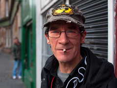 Davy (csh 22) Tags: street portrait people 35mm glasgow streetphotography streetportrait shutters smoker shopfront saltmarket peopleportrait peopleinthecity glasgowpeople nikond90 glasgowstreetphotography glasgowcharacter