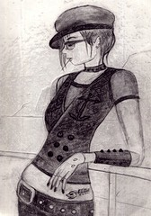 Naughtycal Girl original drawing (subtleandsubversive) Tags: hat fashion tattoo pencil glasses sketch style belly toothpick guardrail slender shading originaldrawing heatlthy skinnypear