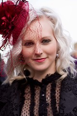 7D0023a Beautiful Blond Haired Lady  - Whitby Goth Weekend 3rd Nov 2012 (gemini2546) Tags: nov goth week 3rd black flowered 2470 canon sigma hair 7d lens red hat jacket blond net whitby bodice 2012 victorian beautiful veillace