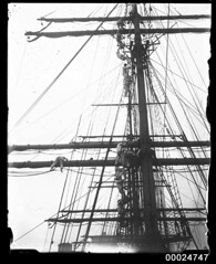 Sailors climbing the masts possibly of MAGDALENE VINNEN, 1933