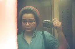 #336 ([ iany trisuzzi ]) Tags: selfportrait reflection film analog 35mm mirror analógica lightleak olympustrip35 day336 project365 365days