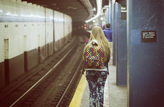 Life in Colors. (Linh H. Nguyen) Tags: world life people urban newyork colors station underground subway bokeh sony tracks rail rokkorx5014 nex7