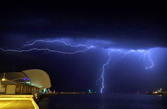 Lightning over Fremantle harbour (beninfreo) Tags: longexposure light storm night harbour australia maritime perth lightning mole fremantle thunder westernaustralia