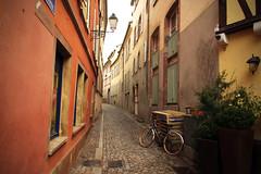 Alley with Bicycle (Génial N) Tags: france bicycle alley pentax colmar pentaxkr