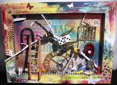 somewhere in Alices dreamland (artwolf2009) Tags: 3d mixedmedia rubberstamping whimsical aliceinwonderland