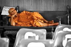 Sleeeping Monk (Swissrock) Tags: november sleeping orange relax thailand tag monk chiangmai 2012 railstation sleepingmonk einsonce mainsation kw52208