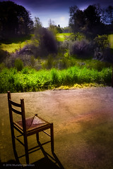 Chair, Waiting (murielle hamilton photo) Tags: chair nature park parkland terrace morning waiting green grass sky trees anticipatory unknown frnace limousin millefeuilles correze orange blue black red