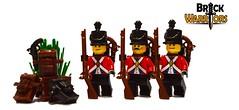 Aug 2016 - Redcoats! (BrickWarriors - Ryan) Tags: brickwarriors custom lego minifigure weapons helmets armor pirate colonial revolutionary war exploration flintlock musket pistol british shako knapsack