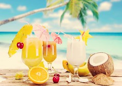 Summer (otiliafermus) Tags: tropical beach cocktail sea alcohol drink summer sky ocean refreshment glass beverage fruit white cool alcoholic deck blue strawberry water party exotic paradise ice holiday cold orange sunny cubes cuban wood palm shell