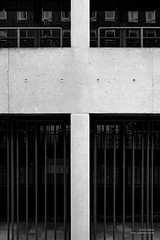 20 Bedford Way (cybertect) Tags: bedfordway bloomsbury canonfd35mmf2ssc denyslasdun london londonwc1 sonya7 ucl universitycollegelondon universityoflondon wc1 architecture blackwhite blackandwhite building concrete monochrome railing