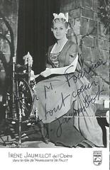 JAUMILLOT, Irne, Marguerite, Faust, Opra de Paris (Operabilia) Tags: autograph claudepascalperna opera marguerite faust gounod irnejaumillot opradeparis