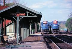 CR 6845, CR 6506 w, Latrobe, PA. 5-07-1991 (jackdk) Tags: train railroad railway railroadstation standardcab latrobepa latrobestation cr conrail emd emdsd40 emdsd402 emdsd60 sd60 sd40 sd402