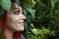One with Nature (MattyApel) Tags: portrait outdoors nature tribal sideview des moines iowa leaves smile jewelry 55mm canon canont5 people
