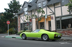 Mamma Miura (sumosloths) Tags: lamborghini miura green lime verde ithaca texas license plates parked side street p400 p400s state farm insurance building stop sign monterey car week downtown carmel ocean ave avenue spotting pebble beach 2016 spotted carspotting spots sumosloths