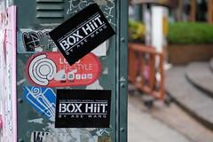 BOX HiiT - Thong Lo Bangkok (jcbkk1956) Tags: fuji xt1 thonglo street streetfurniture stickers dof carlzeiss manualfocus 45mmf28 worldtrekker