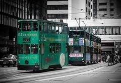 Trams in Central District, Hong Kong (Ray in Manila) Tags: hongkong tram tramway china asia transport hongkongisland worldwidehouse green doubledecker silverefex desvoeuxroad