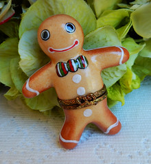 Limoges France Peint Main Trinket Box ~ Gingerbread Man (Donna's Collectables) Tags: limoges france peint main trinket box ~ gingerbread man