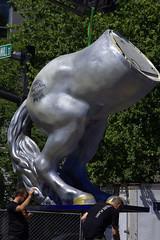 Half The Horse (swong95765) Tags: statue assembly horse lower pabst blueribbon beer fest festival men work forklift