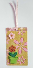 GT6 - Handmade gift tag (tengds) Tags: gifttag handmade yellow green prink flowers flowerpot woodchip felt rhinestone ribbon papercraft tengds tag