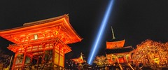 Kiyomizu-dera XVI (Douguerreotype) Tags: lights hdr dark night japan red light buddhist buildings kyoto architecture shrine temple blossom cherryblossom cherry sakura