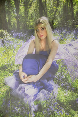 sitting in the bluebells (BarryKelly) Tags: bluebell portrait girl woman dress blue silk ireland wexford blonde purple green
