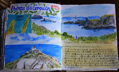 Travel Journal - Pointe du Grouin nr. Cancale (noriko.stardust) Tags: travel summer vacation holiday france colour art illustration writing watercolor notebook french japanese sketch pages drawing diary illustrated letters cartoon journal craft blogger watercolour calligraphy entry journalling notebookism