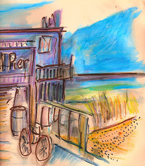 ROD AND REEL PIER ANNA MARIA ISLAND FLORIDA (roberthuffstutter) Tags: style expressionism impressionism huffstutter watercolorsbyhuffstutter artmarketusa