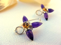 Amethyst Citrine Wire Wrap Earrings - SOLD (EternoJewelry) Tags: flowers silver wire lily purple champagne wrapped lilies honey faceted sterling earrings amethyst dangle plump bail aaa coiled citrine gemstone