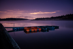 (drfugo) Tags: trees light sky cloud moon mist lake reflection texture water field fog night stars concrete sussex boat jetty reservoir pollution moonlight dingy ardingly sigma28mmf18exdg canon5dmkii