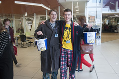 Two pyjama wearing fundraisers